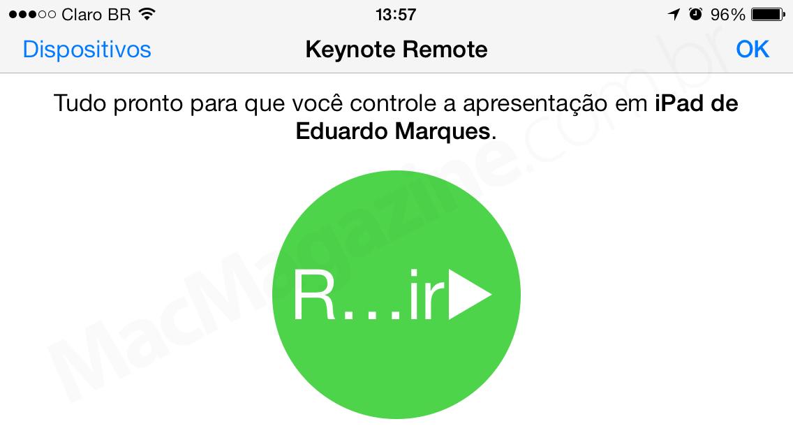 Controle remoto do Keynote