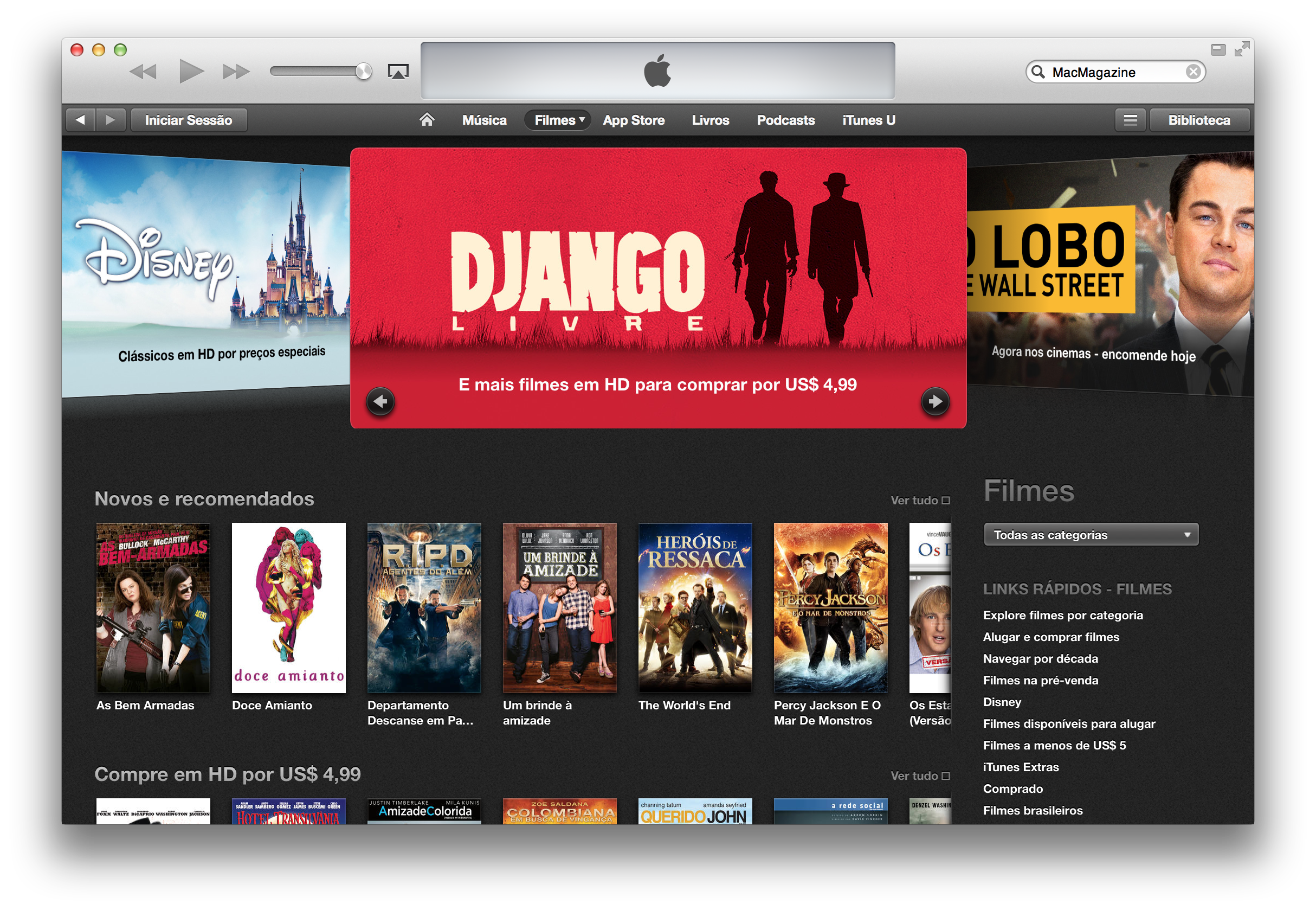 Ofertas na iTunes [Movie] Store