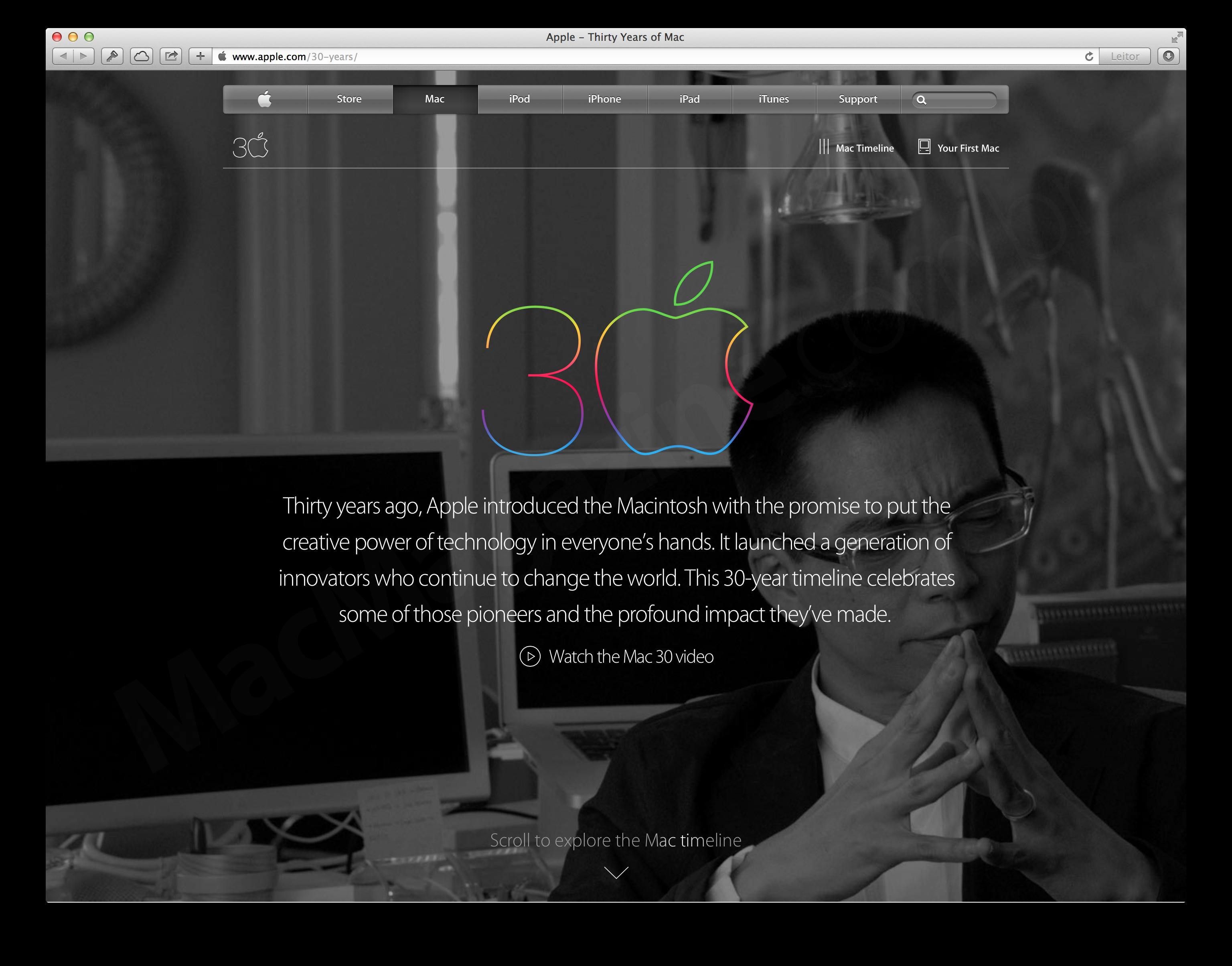 Página dos 30 anos do Macintosh