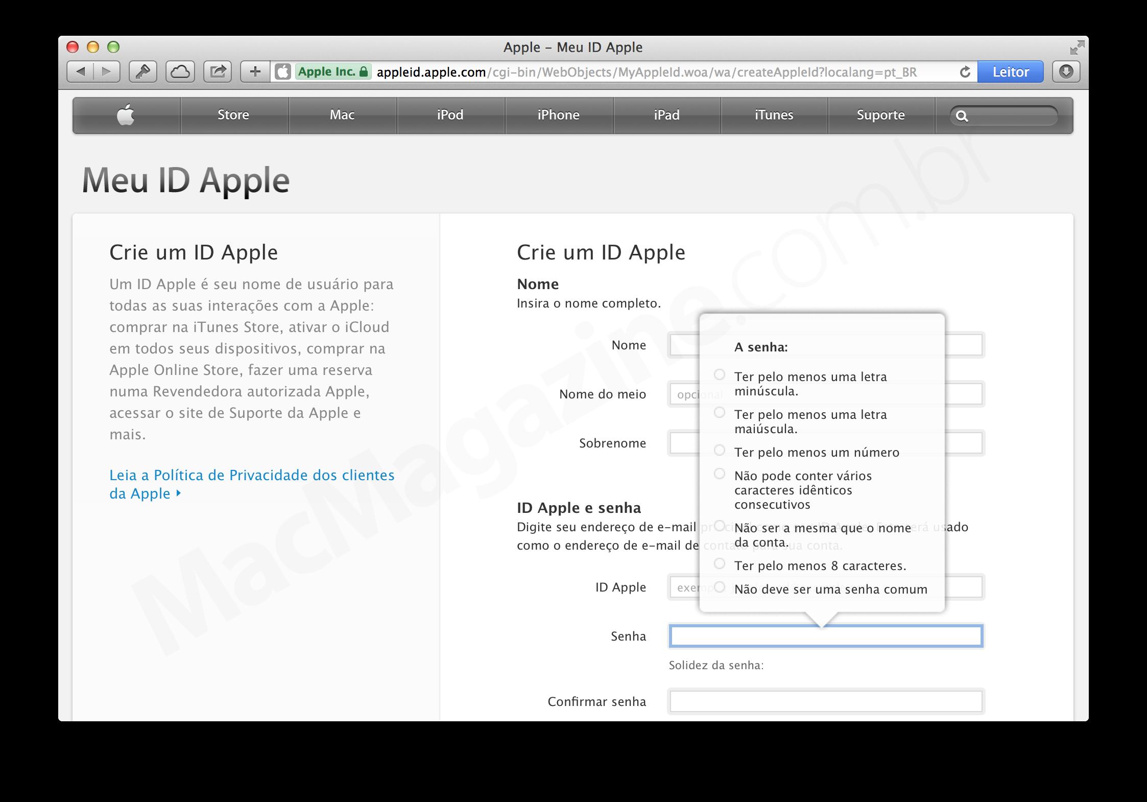Exigências da Apple para a criação de senhas