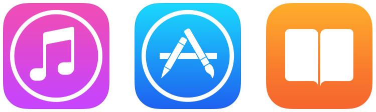 Ícones das lojas da Apple (iTunes/App/iBooks Store)
