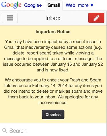 Bug no Gmail para mobile