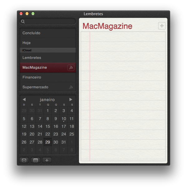 Lembretes - OS X Mavericks