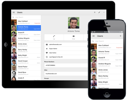 App Google para administradores para iOS
