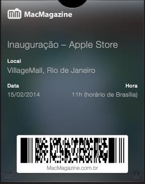 Passbook da inauguração da Apple Store - VillageMall