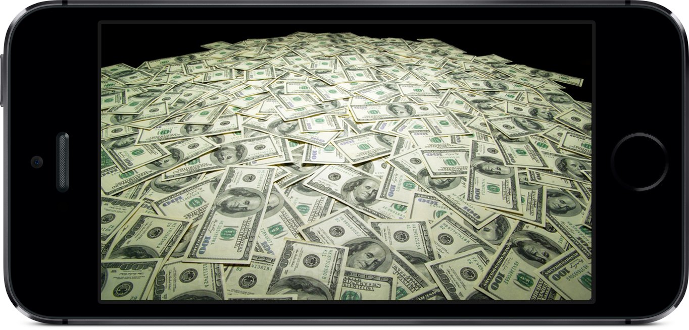 iPhone 5s com dinheiro na tela