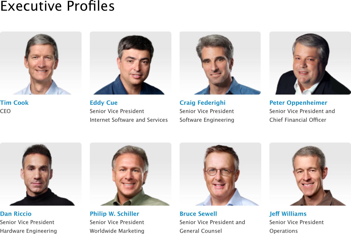 Executivos da Apple sem Ive