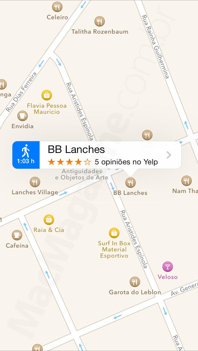 Avaliações do Yelp no app Mapas do iOS