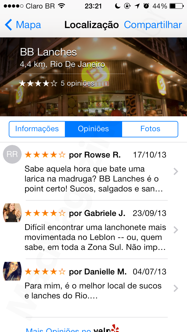 Avaliações do Yelp no app Mapas do iOS
