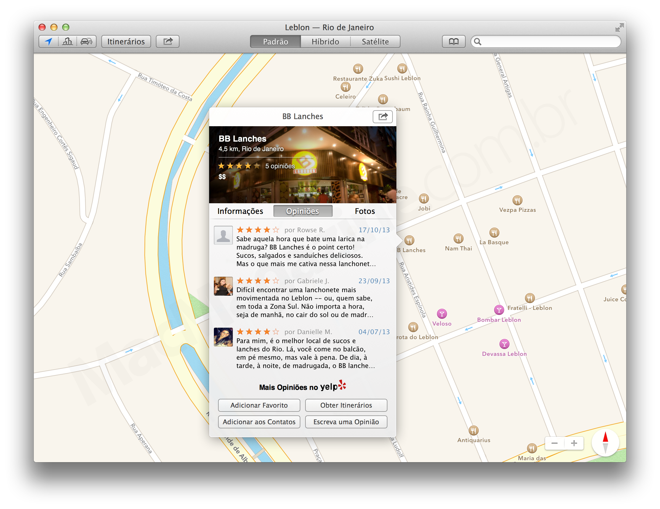 Avaliações do Yelp no app Mapas do OS X