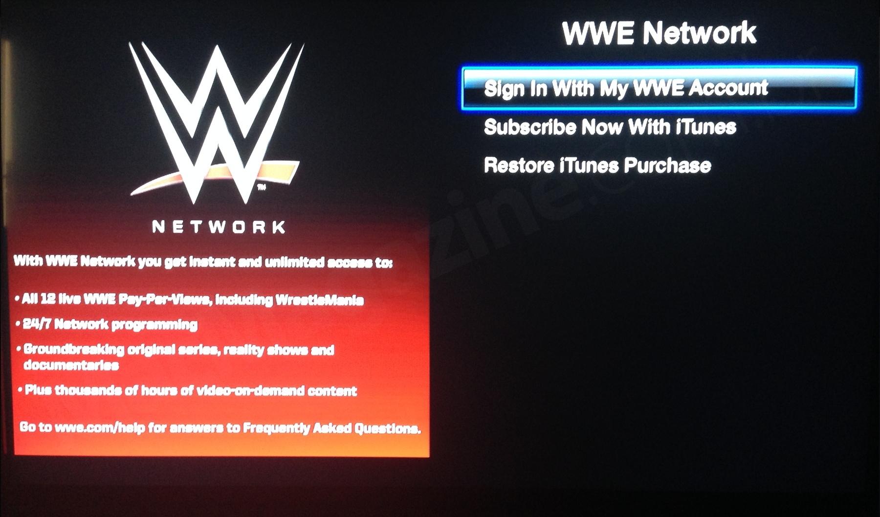 WWE Network na Apple TV