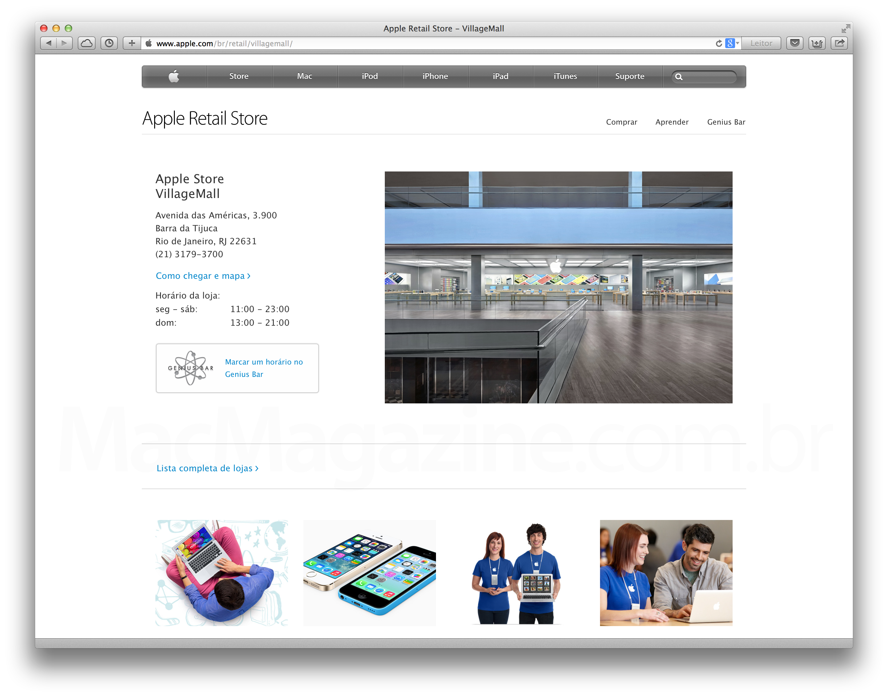 Site de Apple Retail Stores mais flat
