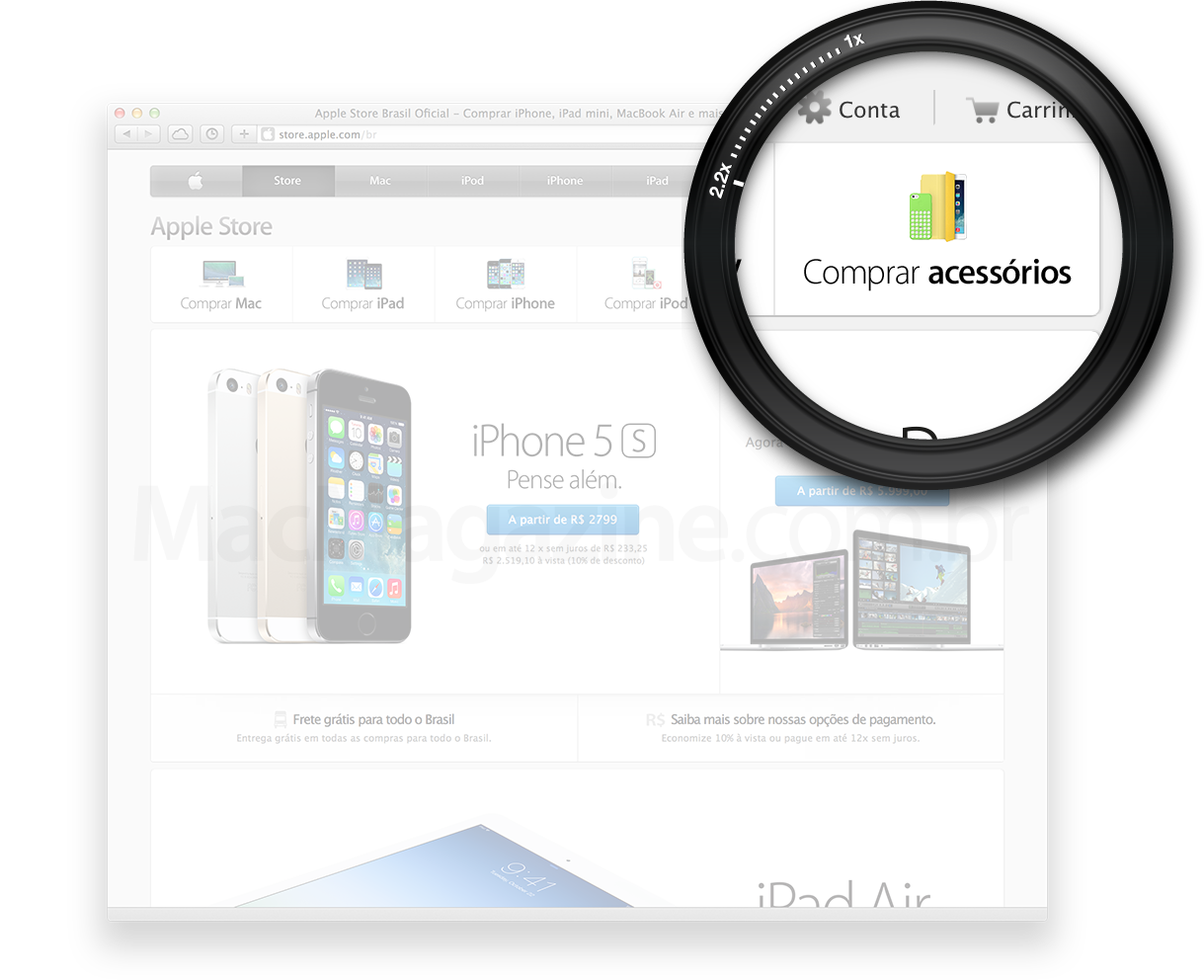 Comprar acessórios na Apple Online Store