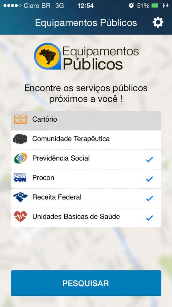 Screenshot do Equipamentos Públicos
