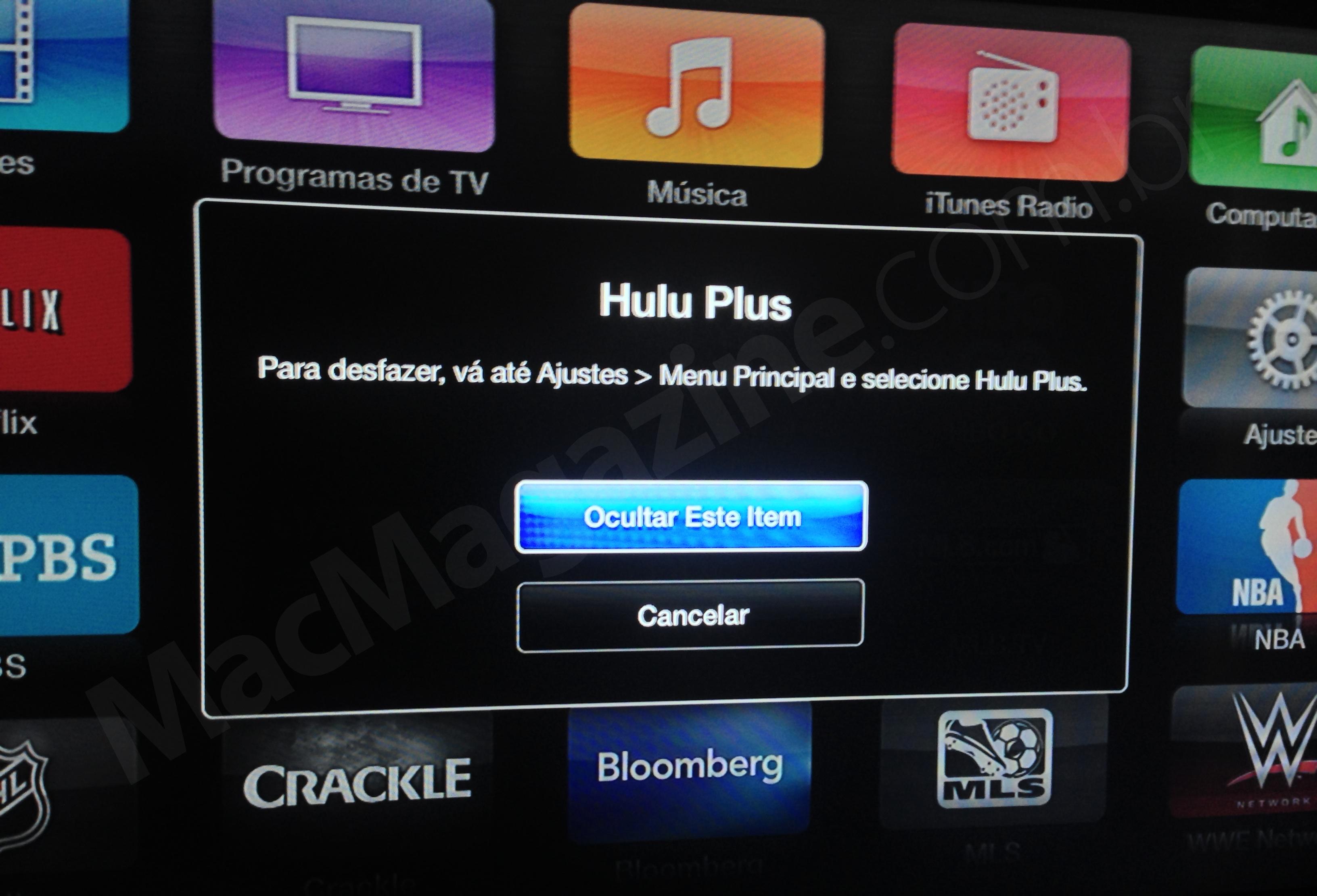 Escondendo canais na Apple TV