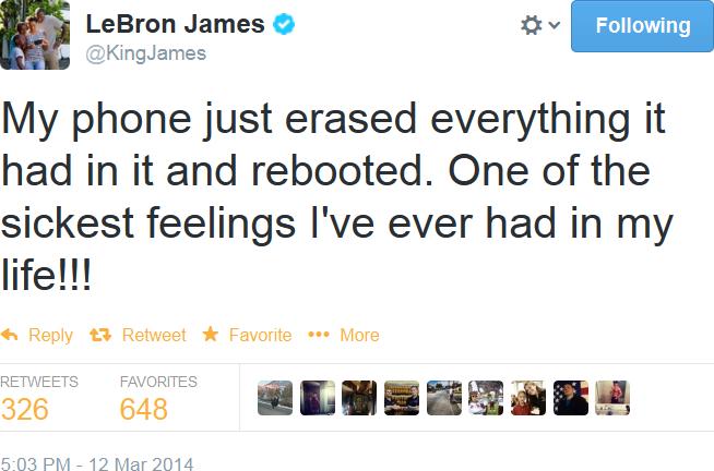LeBron James reclamando do seu aparelho Samsung