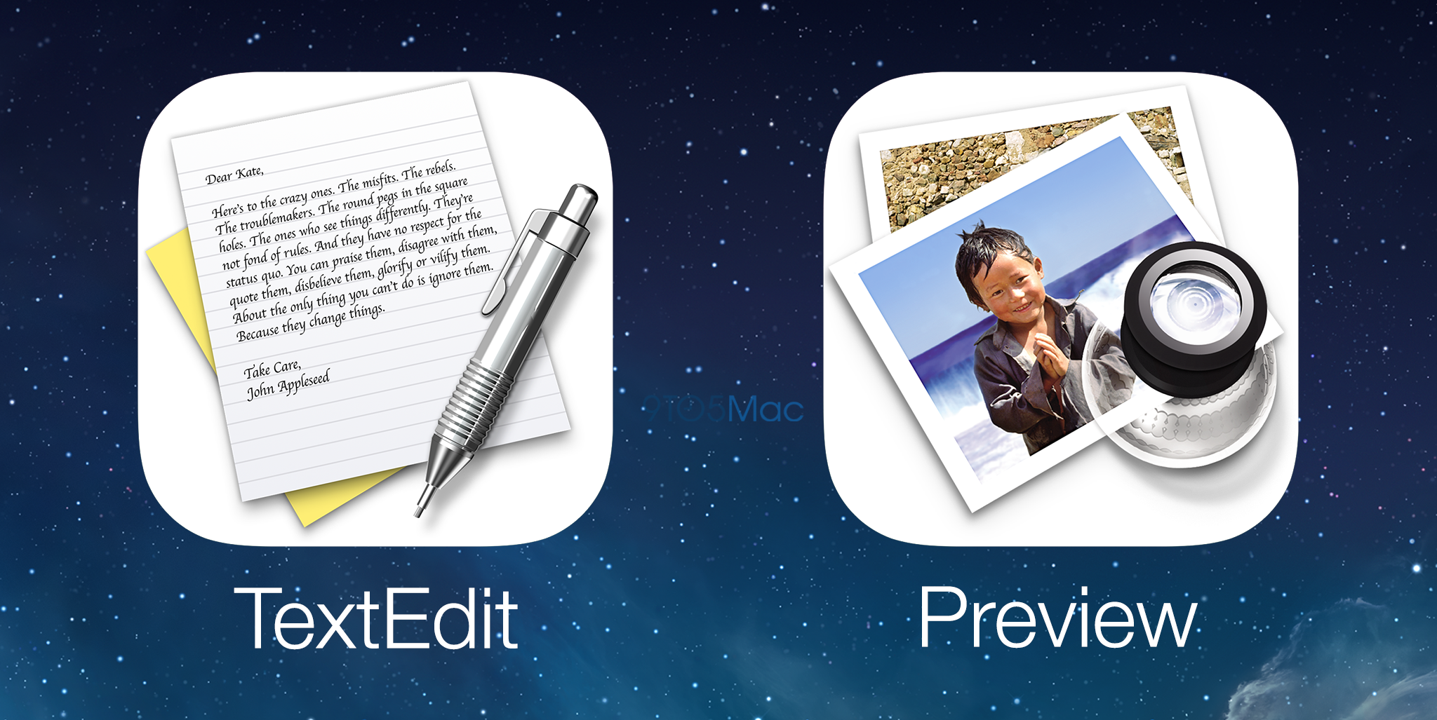 Mockups dos apps TextEdit e Preview para iOS