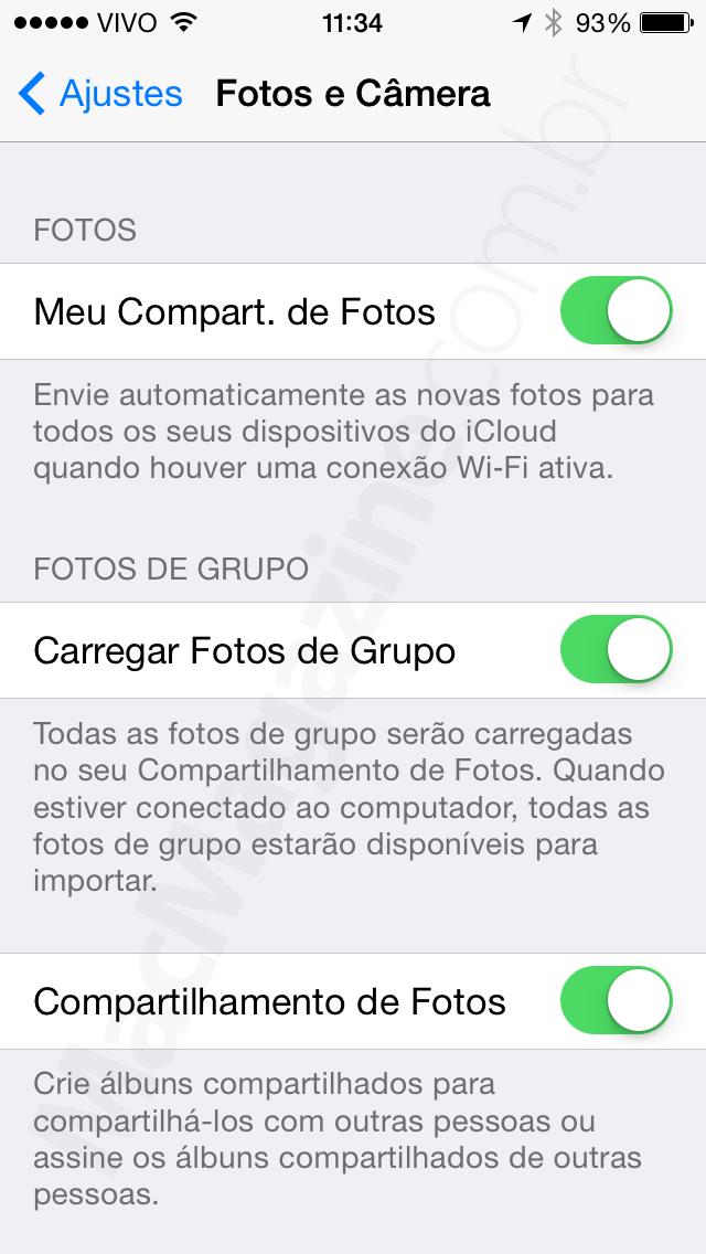 """Opção """"Carregar Fotos de Grupo"""" no iOS 7.1"""