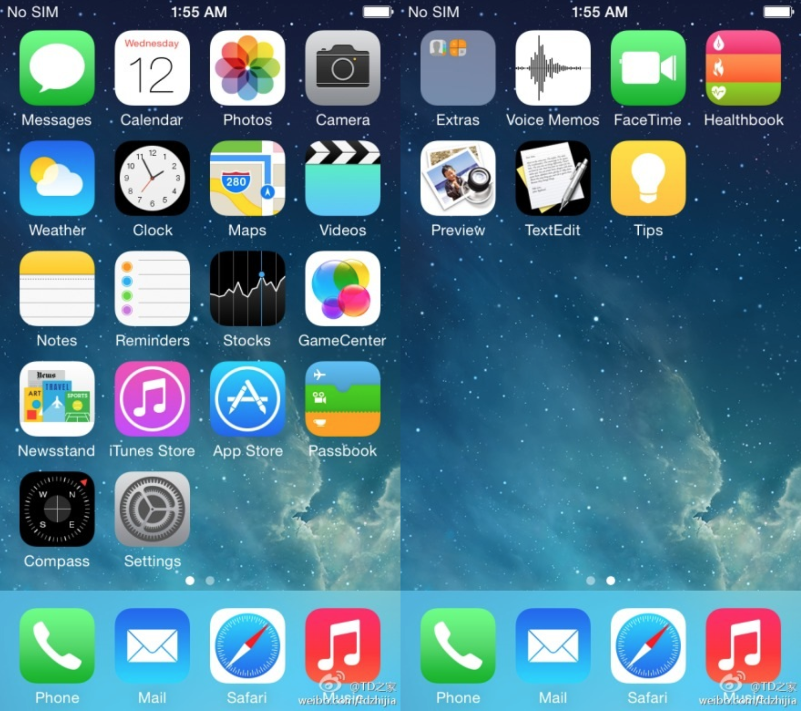 Screenshot preliminar do iOS 8