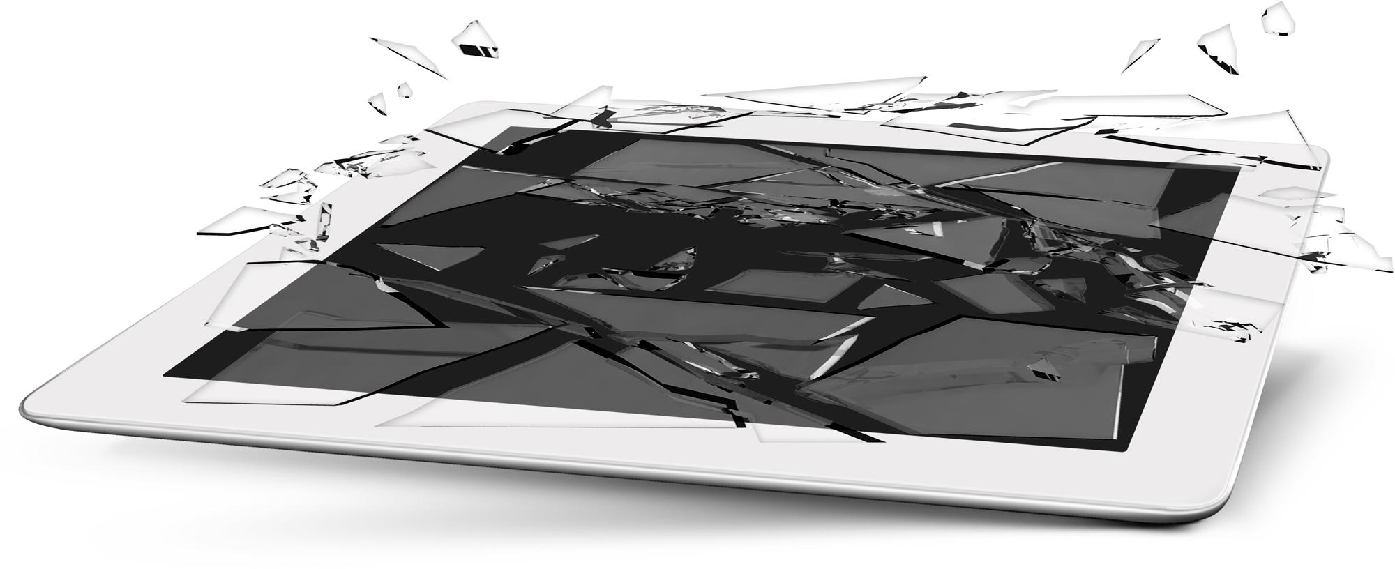 iPad com a tela quebrada