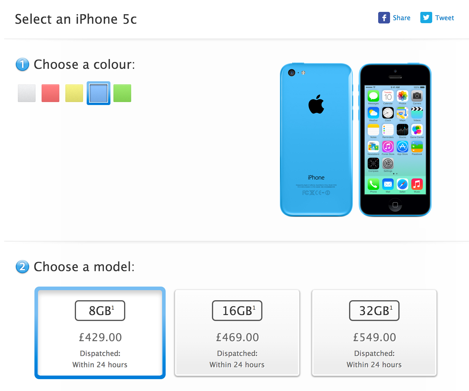 iPhone 5c de 8GB no Reino Unido