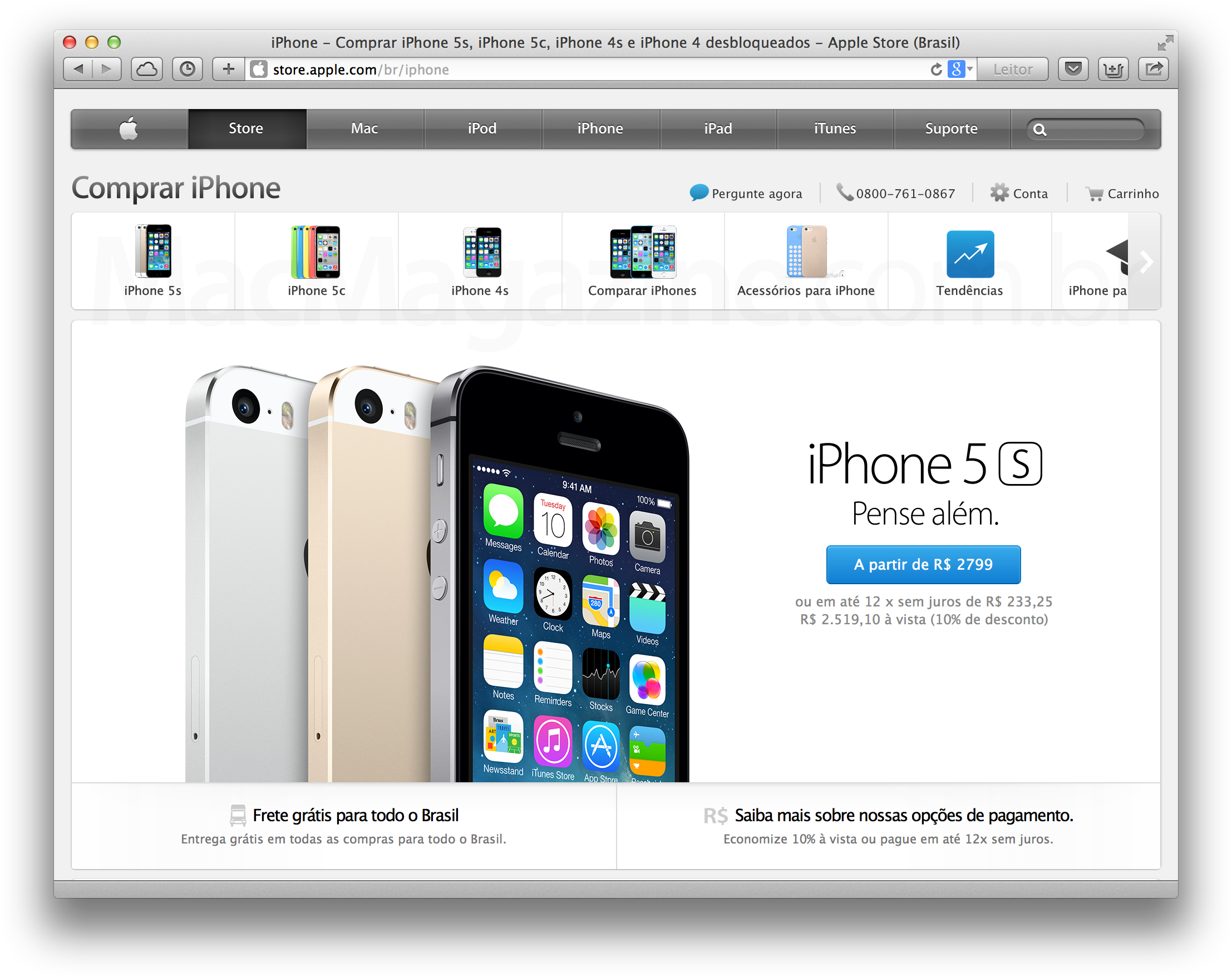 Página de iPhones na Apple Online Store