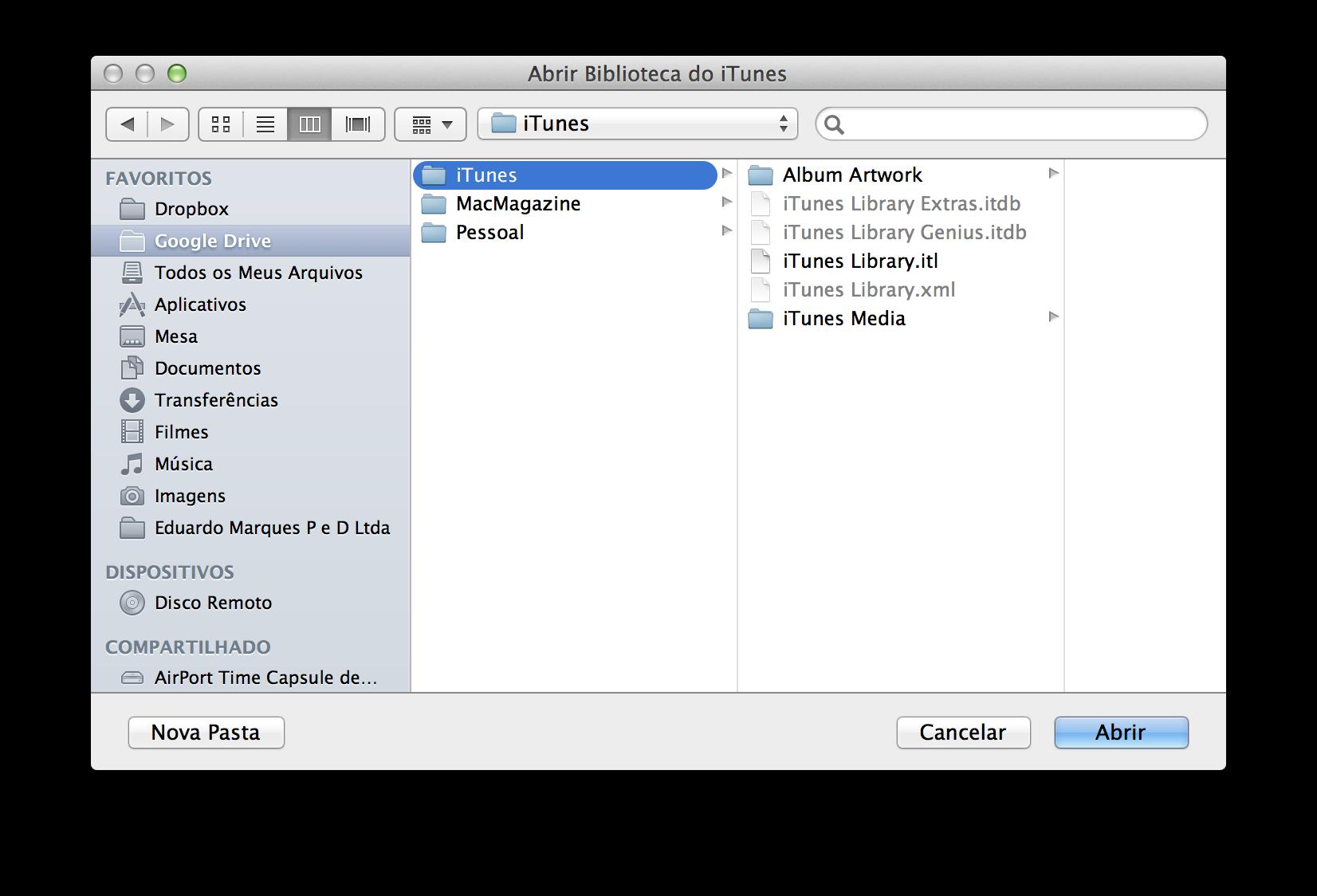 Escolhendo a biblioteca do iTunes