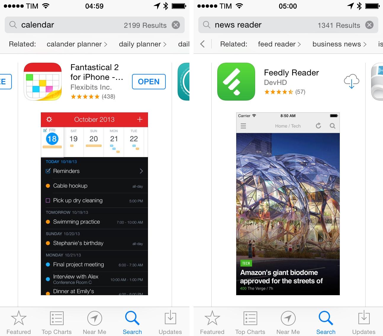 Buscas relacionadas na App Store