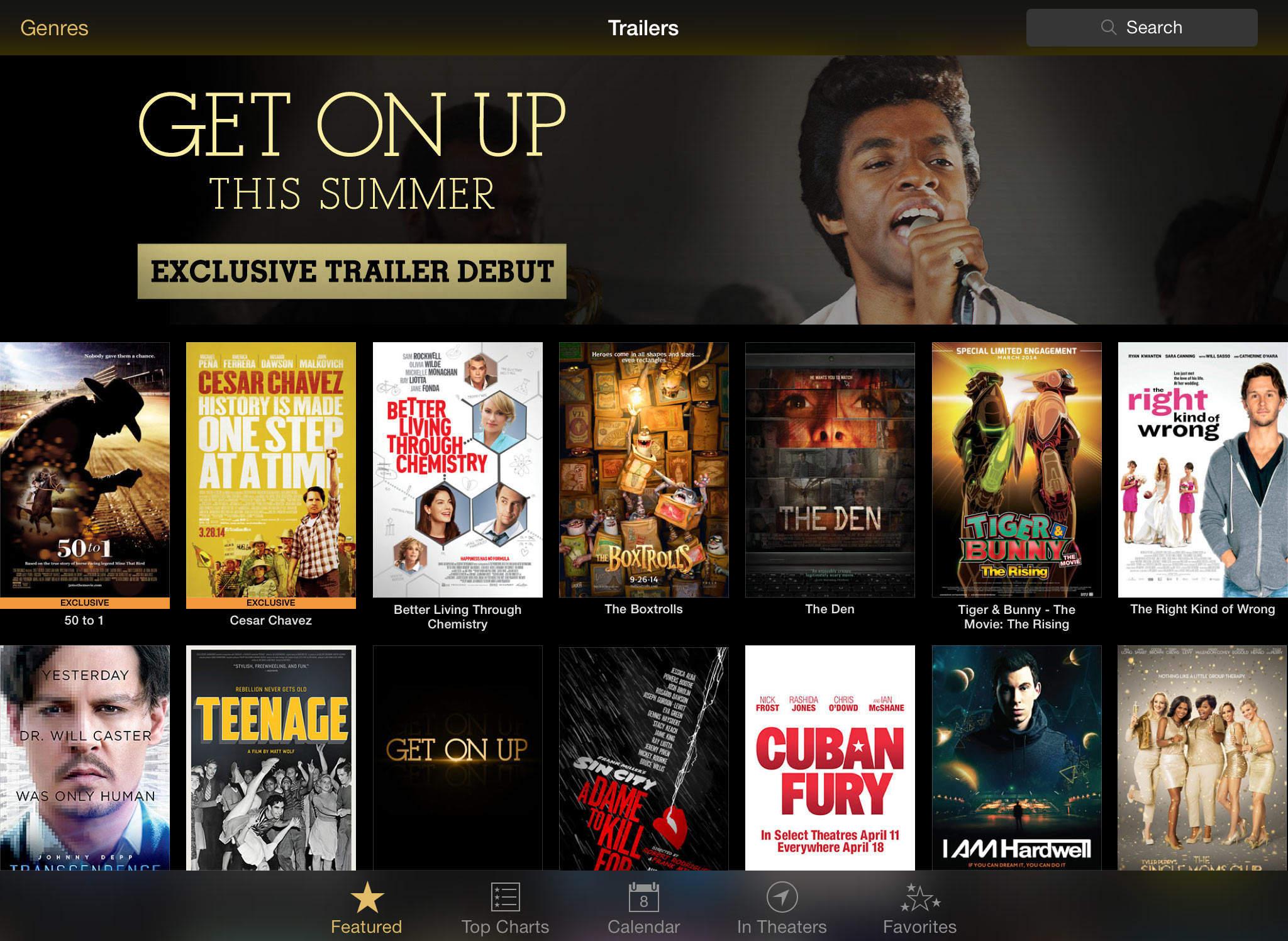 Screenshot do iTunes Movie Trailers