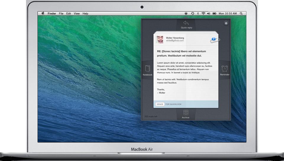 Blink Mail num MacBook Air