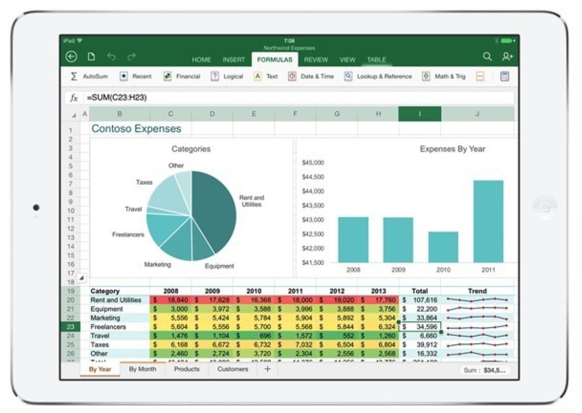 Excel no iPad