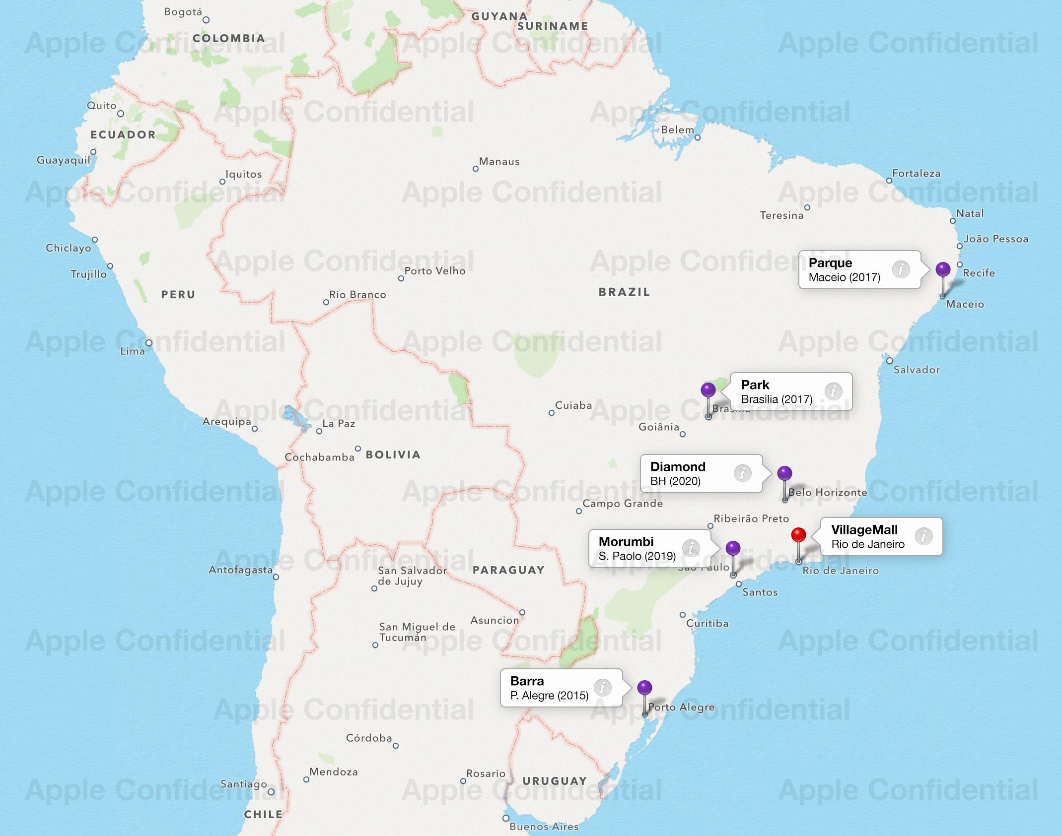 Mapa com futuras Apple Retail Stores no Brasil