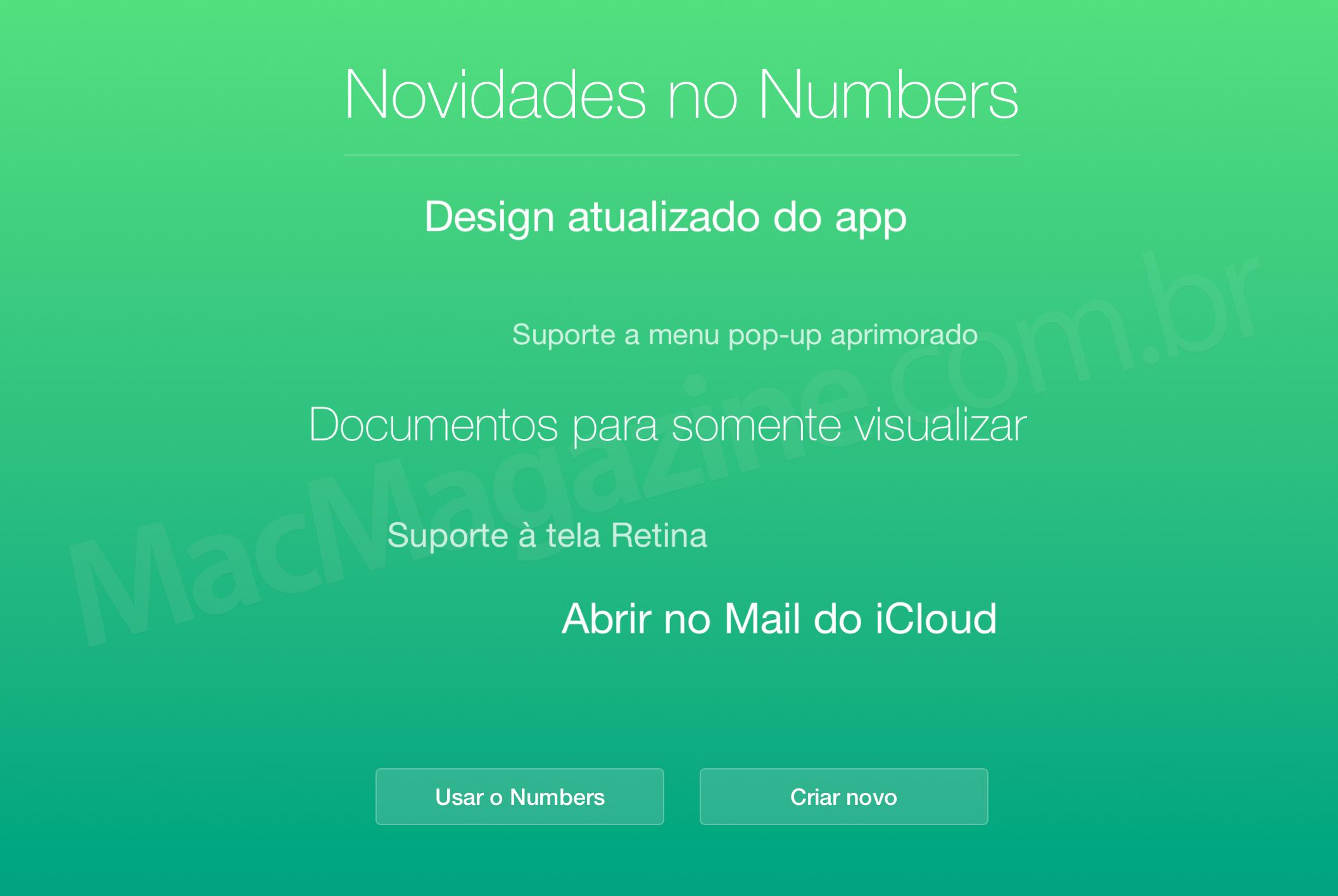 iWork no iCloud.com atualizado