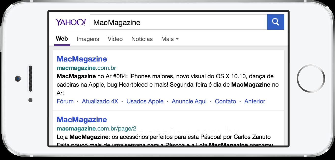 Busca do Yahoo no iOS