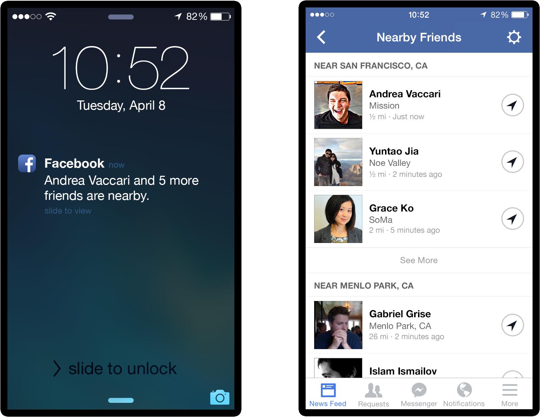 """Recurso """"Nearby Friends"""", do Facebook"""