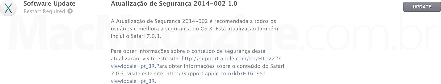Atualização de segurança do OS X Mavericks