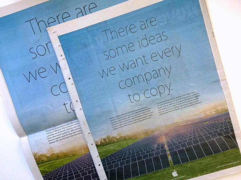 Anúncio de jornal da Apple para o Dia da Terra