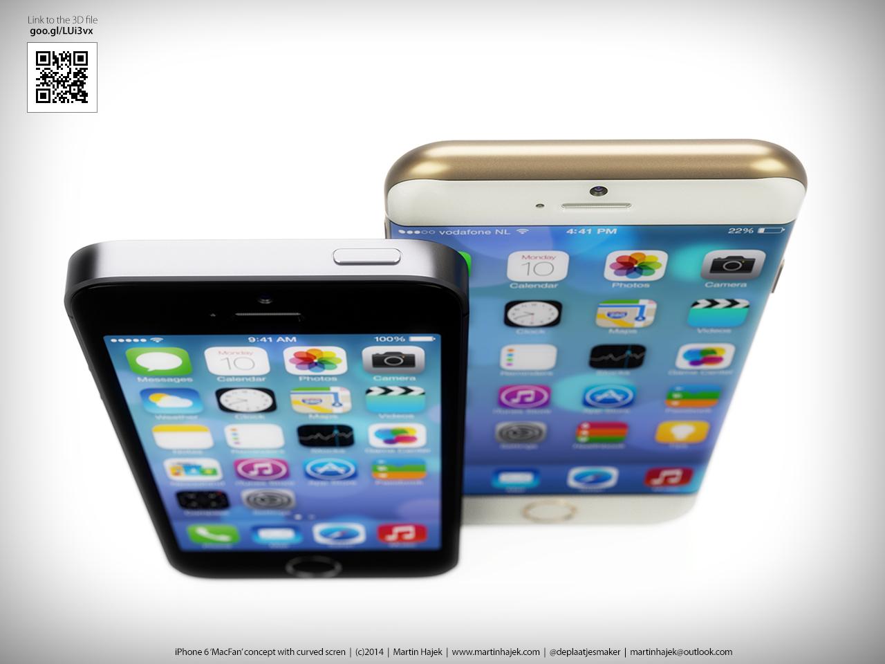 Conceito de iPhone 6 com tela curva