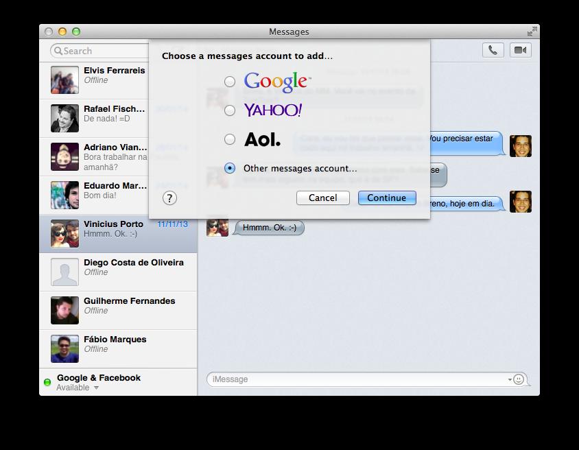 Configuração de conta Jabber no Messages