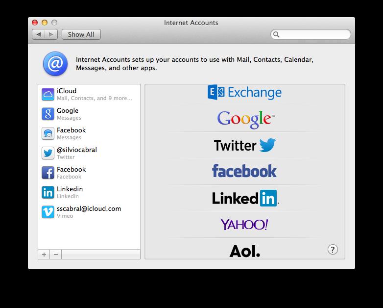 Configurações de contas de internet no OS X