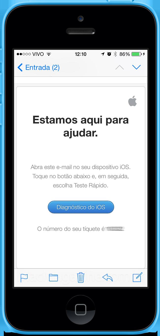 Diagnóstico remoto em iPhone