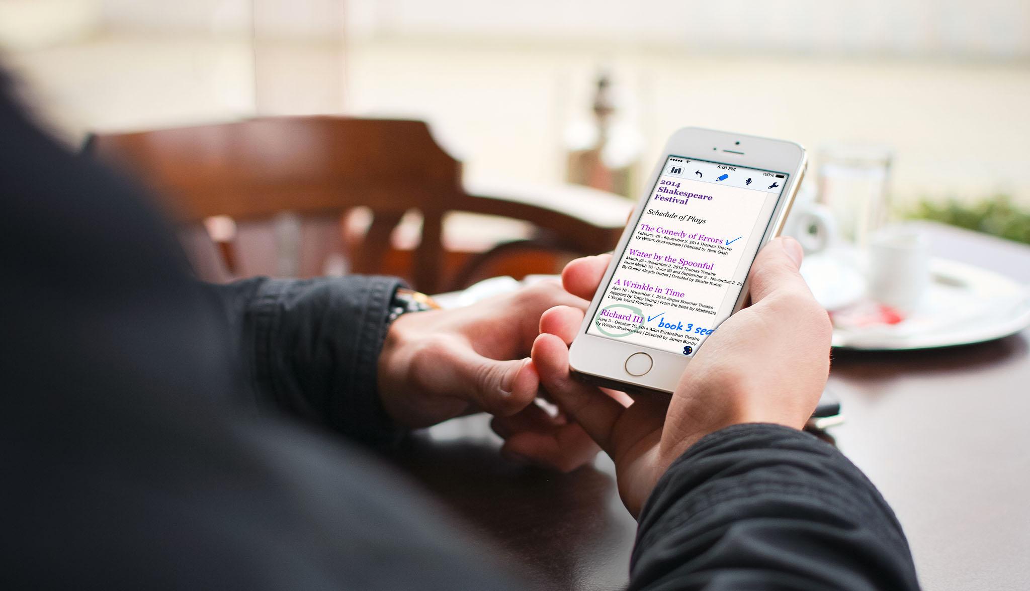Notability sendo usado num iPhone