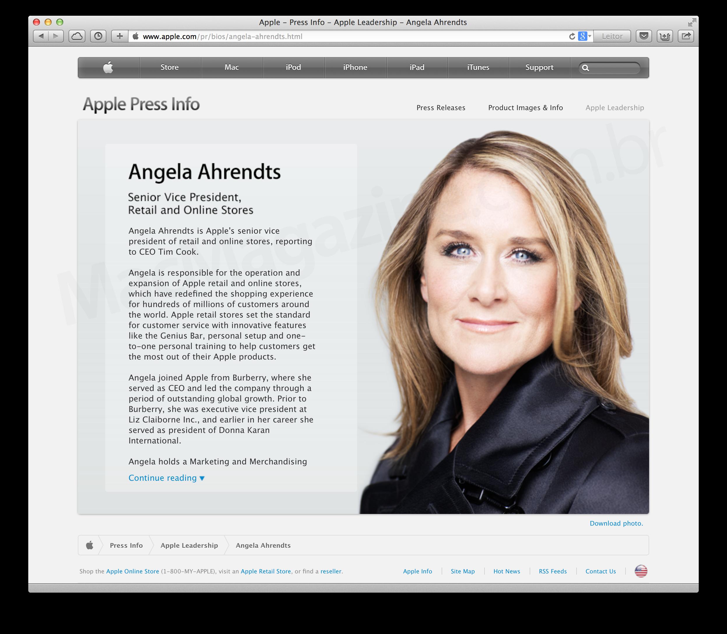Angela Ahrendts no site da Apple