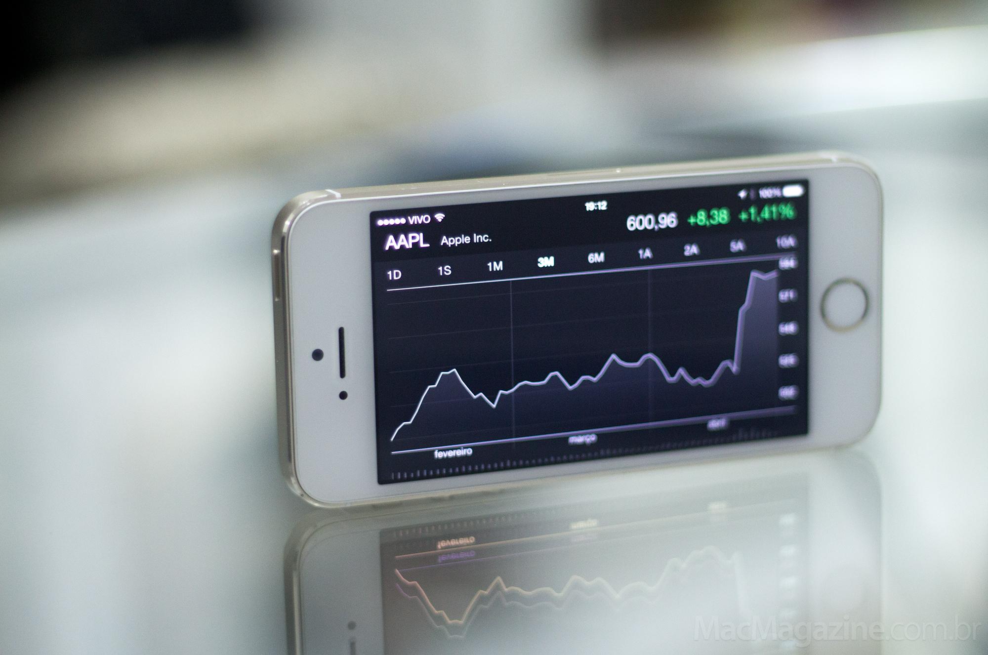 AAPL no Bolsa em um iPhone 5s (by MacMagazine)