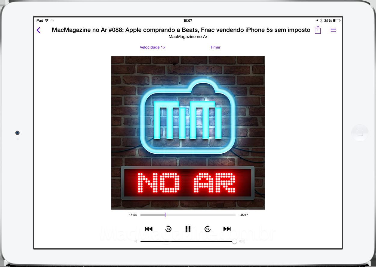 MacMagazine no Ar no app Podcasts em um iPad Air