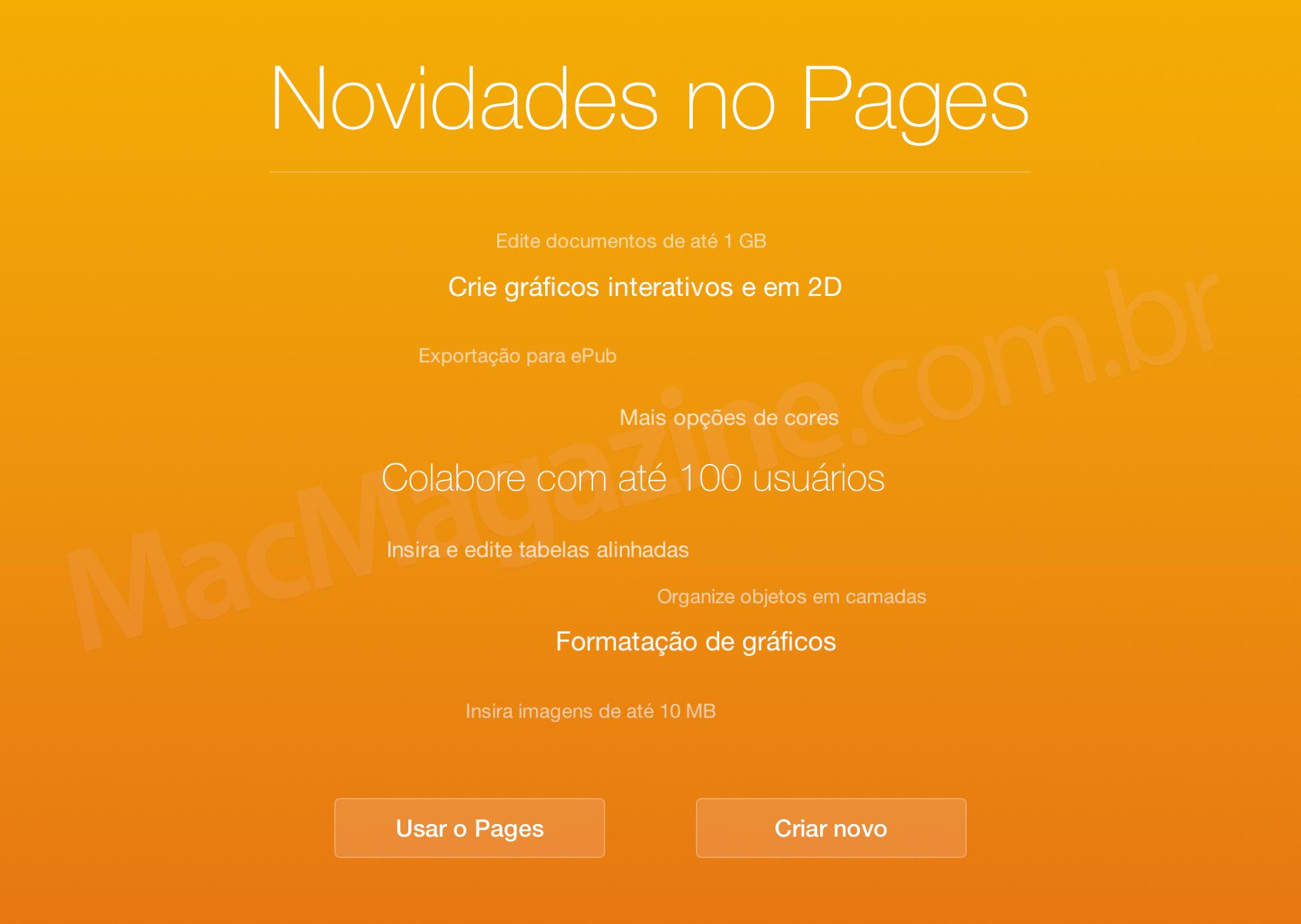 Novidades no iWork para iCloud.com