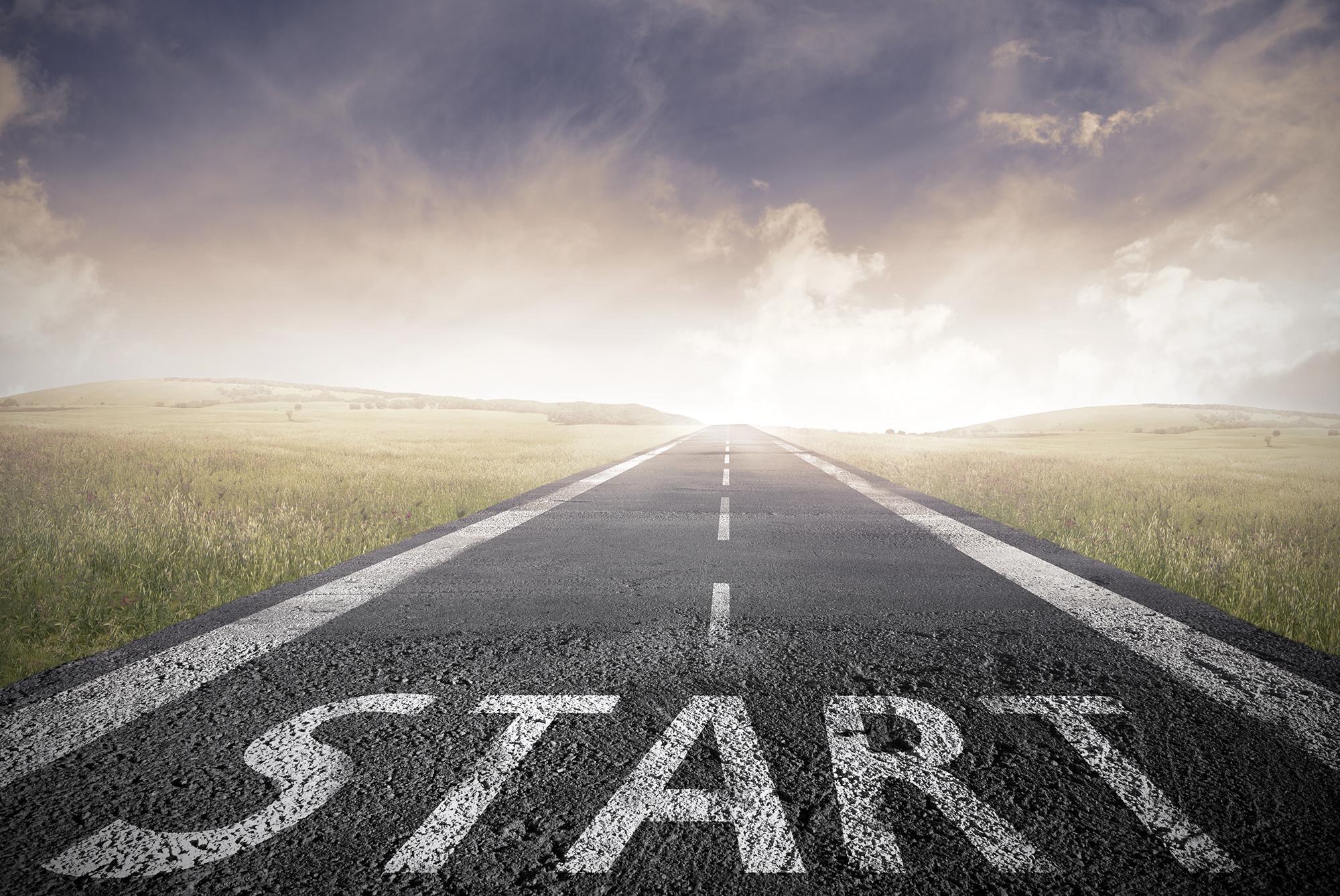 Start escrito em avenida