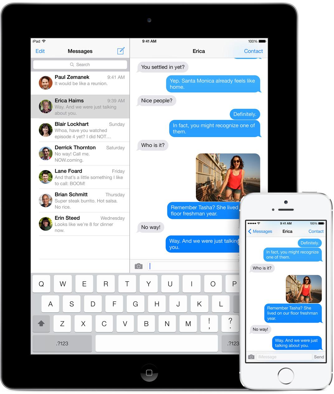 iMessage rodando num iPad e num iPhone com o iOS 7