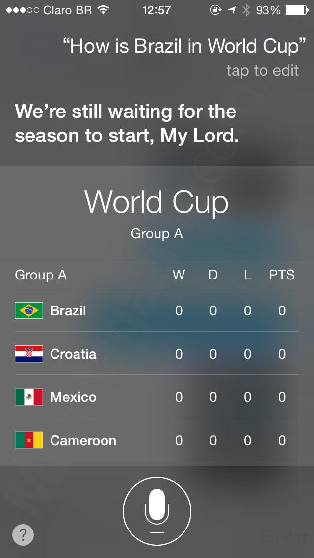 Siri por dentro da Copa do Mundo 2014