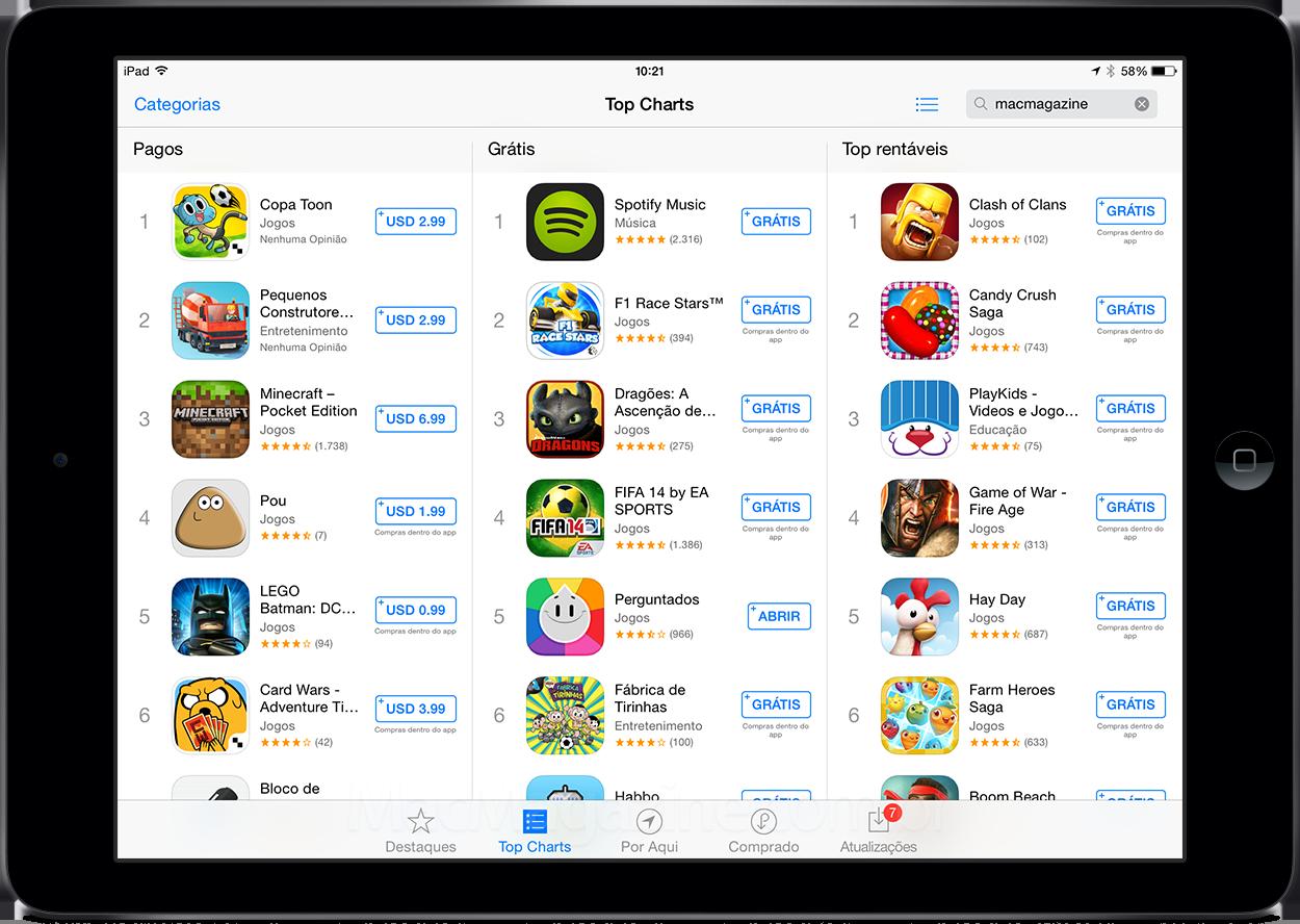 Rankings da App Store num iPad Air